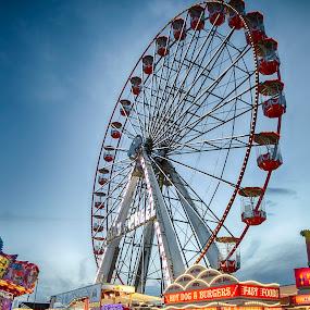 Hoppings Ferris Wheel by Davey T - City,  Street & Park  Amusement Parks ( funfair, hoppings, town moor, big wheel, fairground, 2016, newcastle, north tyneside, gosforth )