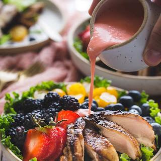 Paleo Balsamic Chicken Salad with Creamy Dairy Free Strawberry Vinaigrette.