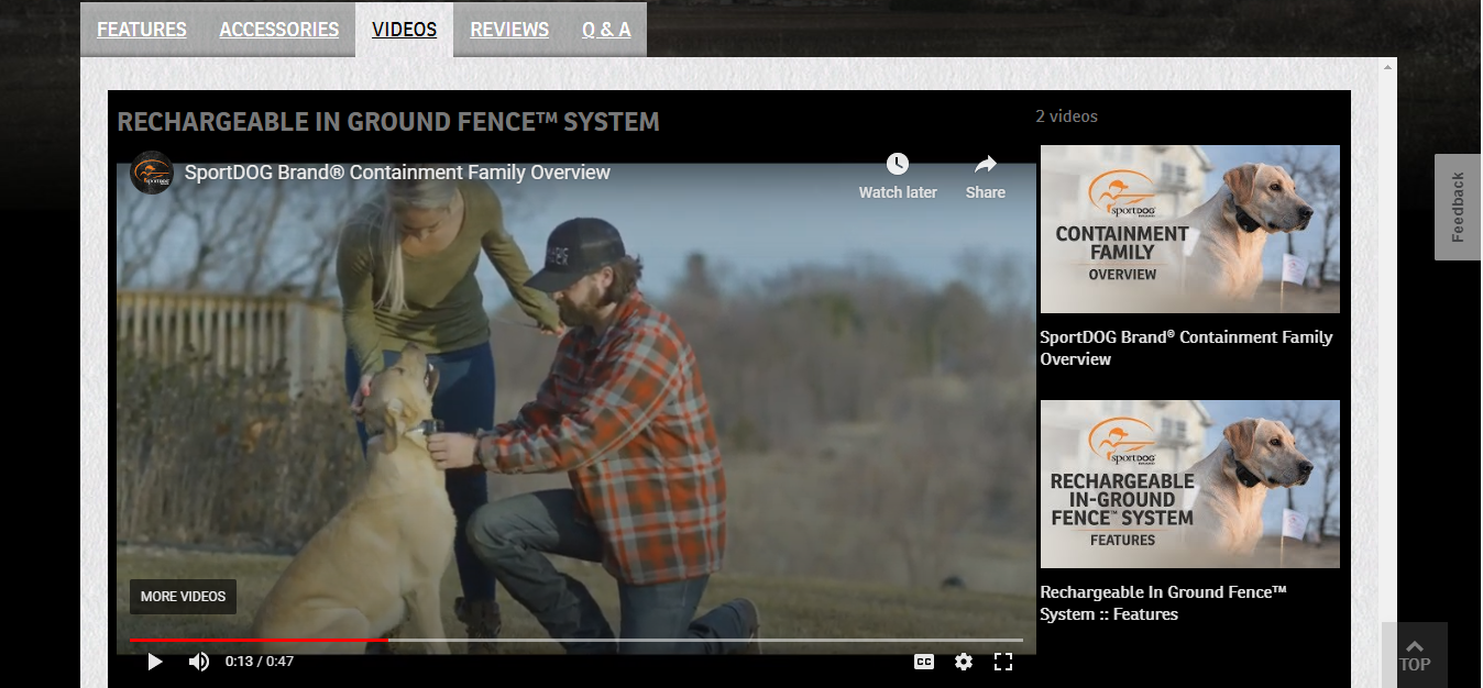 A screenshot of a video from an online store about dog fence systems