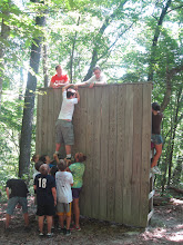 Photo: The wall element on the Low Ropes Course at Camp Toccoa