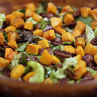 Roasted Butternut Squash, Pecan, Bacon, Mix Green & Baby Spinach Salad With Maple Syrup Vinaigrette.