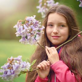 Cold spring by Jiri Cetkovsky - Babies & Children Child Portraits ( girl portrait, girl portrait blosooms, girl, girl portrait blosooms spring sunset, girl portrait blosooms spring )