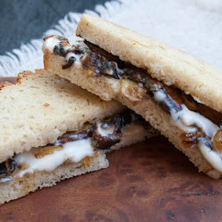 Vegan Caramelized Onion and Mushroom Grilled Cheese.
