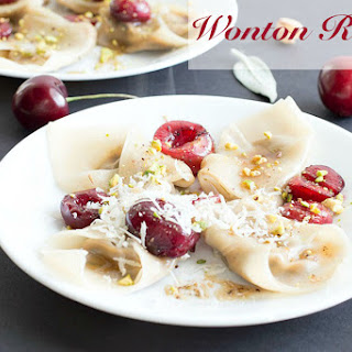 Wonton Ravioli With Cherries and Brown Butter Sauce