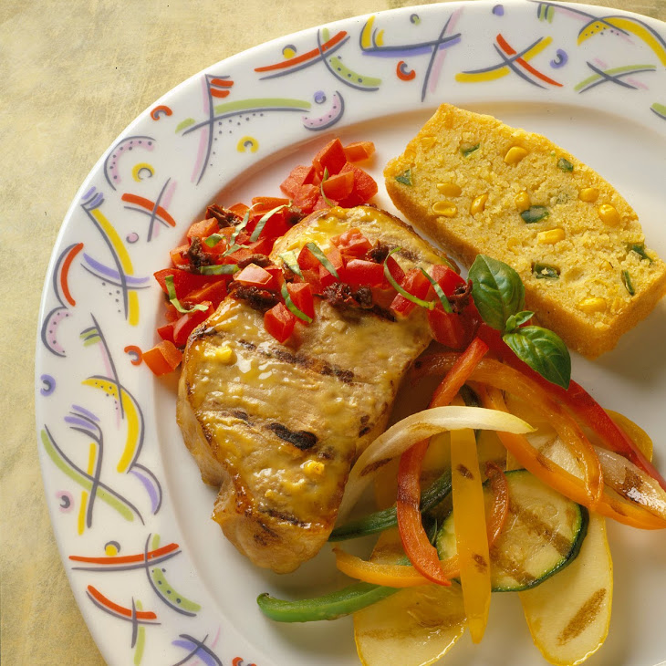 Mustard-Grilled Pork Chops with Two-Tomato Salsa