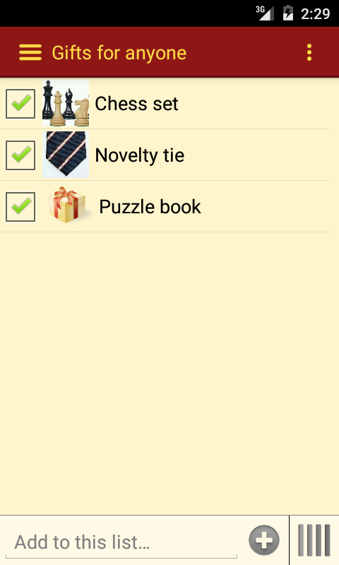 Gift List- screenshot
