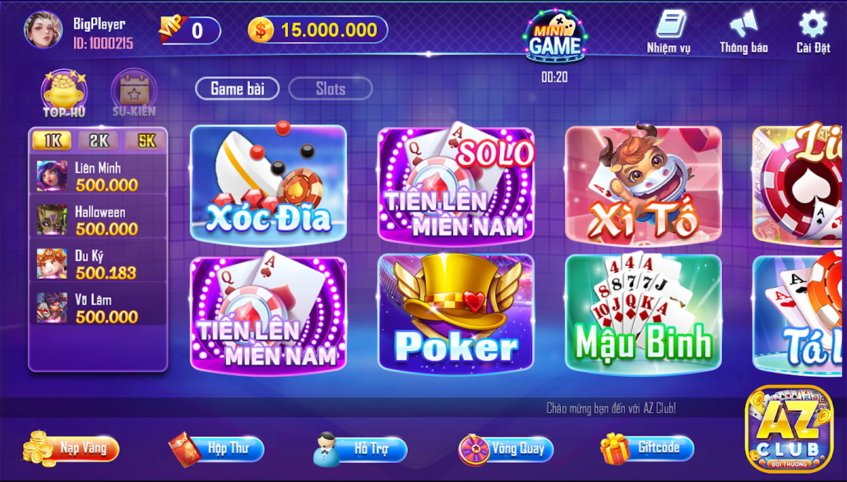 Game Danh Bai Doi Thuong AZ Club Online 2020