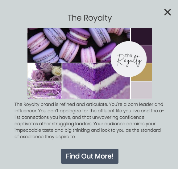 quiz results for the Royalty brand