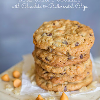 Rice Crispy Cookies With Chocolate and Butterscotch Chips.