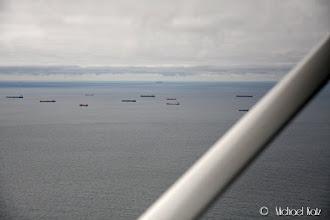 Photo: Mange skip langs den Belgiske kysten