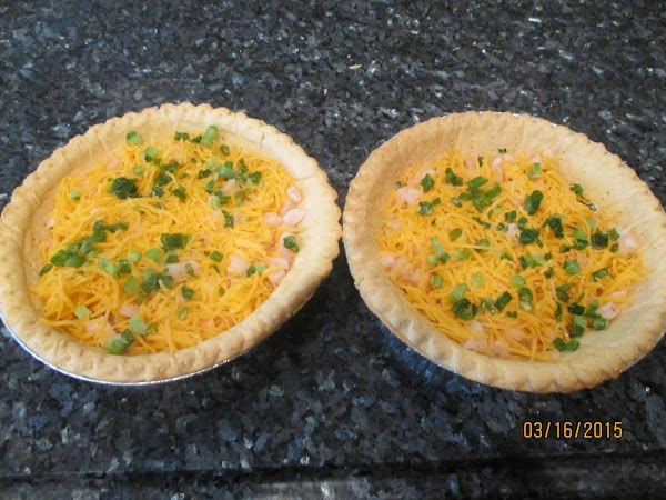 Sprinkle shrimp, cheese and onions over bottom of baked pastry shell.