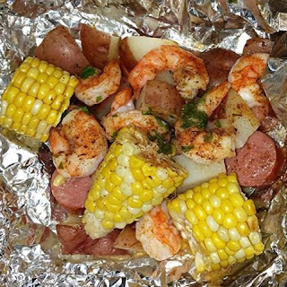 Cajun Shrimp and Sausage Hobo Pouches.