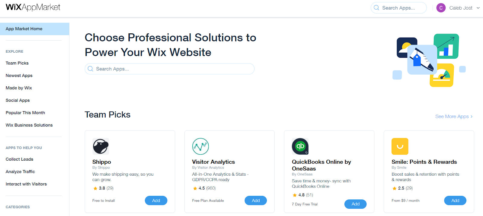 wix app market home page