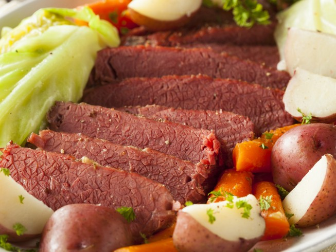 Corned Beef Brisket & Braised Cabbage, Carrots And Potatoes Recipe ...
