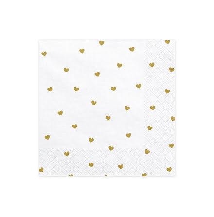 Servetter - Vita med guldhjärtan