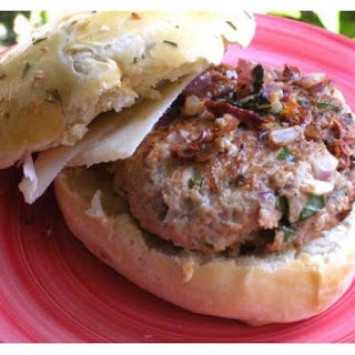 Sundried Tomato and Basil Veal Burgers On Rosemary Onion Rolls.
