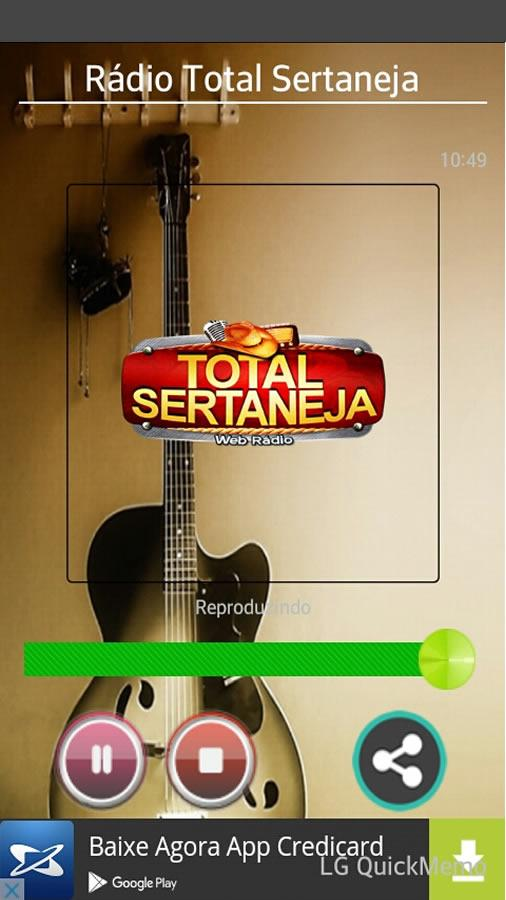 Rádio Total Sertaneja: captura de tela
