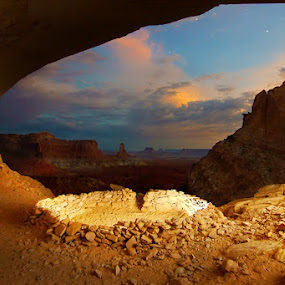 Ancient Vistas by Craig Bill - Landscapes Travel ( canyonlands, nighttime, long exposure, ruins, kiva,  )