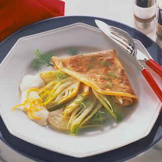 Crêpes mit Fenchel und Zitronensauce