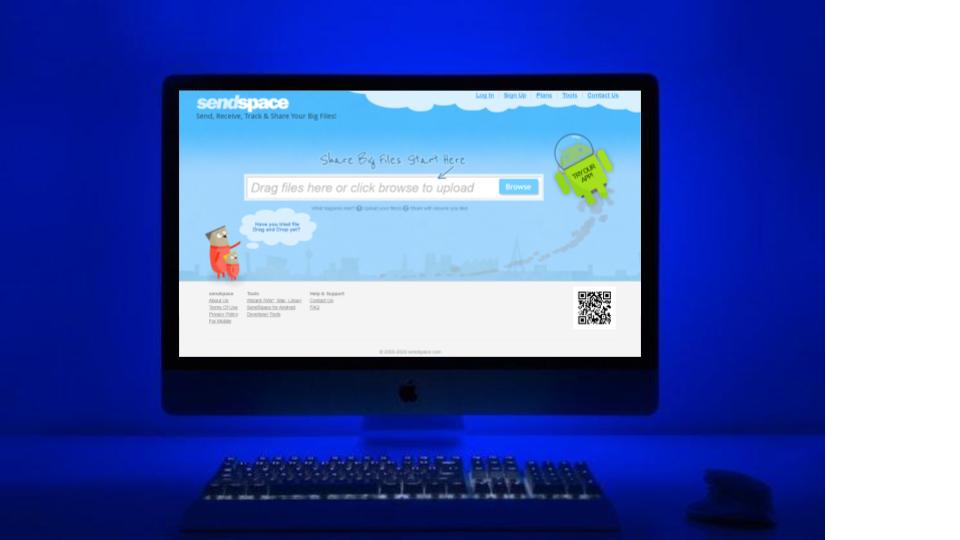 Sendspace on desktop