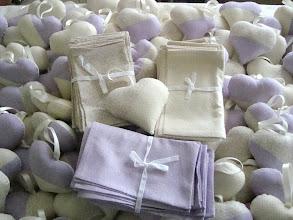Photo: cuori con lavanda e sacchettini coordinati