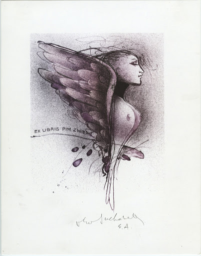 258. Bookplate. PIM ZWIERS. Girl´s torso with wings.