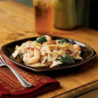 Shrimp, Broccoli, and Sun-Dried Tomatoes with Pasta.