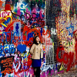 Posing with John by Lorna Littrell - People Street & Candids ( art, candid, prague, graffiti, people, colorful, street photography,  )