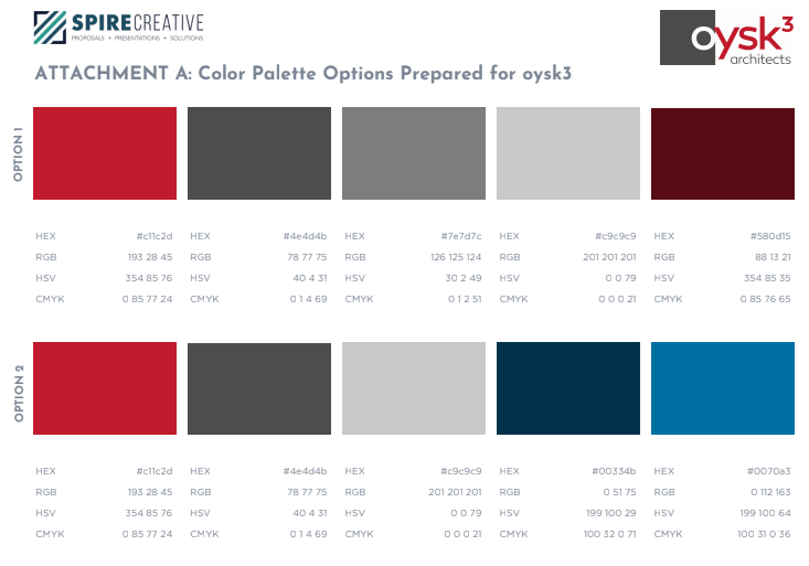 Color palette example for a brand guide