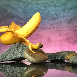 Still life with banana and rocks by Janette Ho - Food & Drink Fruits & Vegetables