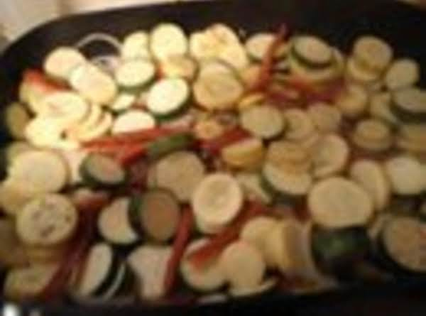 Squash And Zucchini With Peppers And Onions