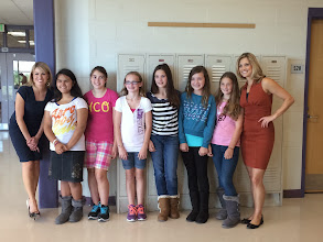 "Photo: Christa Delcamp, Brenda Menjivar, Mia Losey, Cassie Boas, Kylee McCumber, Kassie Diaz, Olivia Gallo and Kayna Whitworth during Channel 7 News' filming for the ""Class Act"" Award. October 3, 2013"