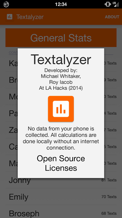 Textalyzer- screenshot