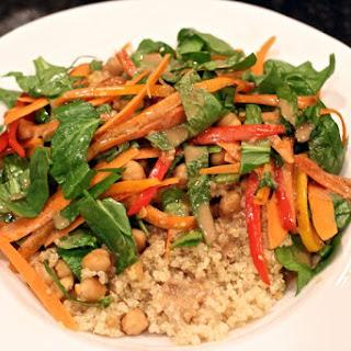 Quinoa and veggie Buddha bowl with lemon-tahini dressing