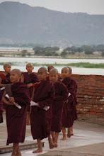 Photo: Year 2 Day 56 -  Line of Monks at the Stupa of Lawkananda Pagoda