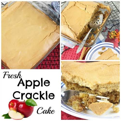 """Fresh Apple Crackle Cake""""A moist fresh apple spice cake topped with a..."""