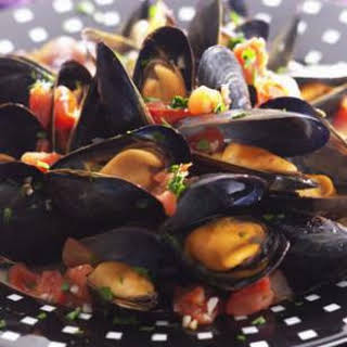 Steamed Mussels in Tomato Broth.