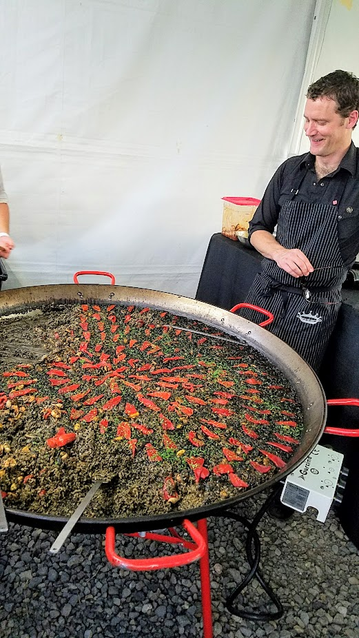Recap of Feast Night Market 2017: Scott Ketterman of Crown Paella cooked up a storm of big paella pans of Black Arroz with Baby Octopus Escabeche