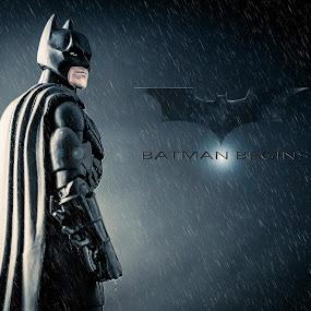 BATMAN BEGINS by Lee Miko - Artistic Objects Toys ( brucewayne, begins, batman, rain, superhero )