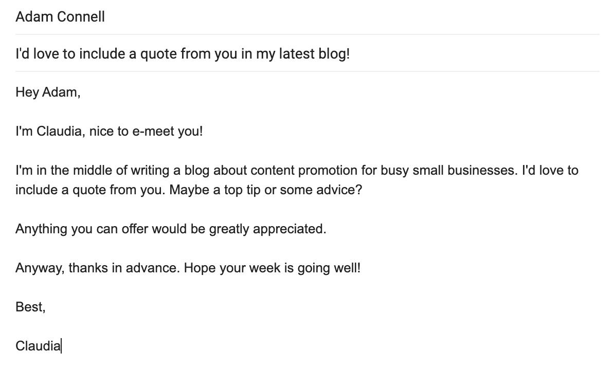 An example of email outreach to a blogging influencer for content promotion.
