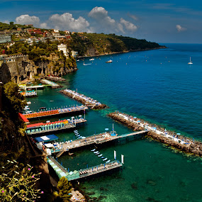 The beach front at Sorrento, Campania, Italy by Peter Greenhalgh - Landscapes Travel ( sorrento, surriento, tourism, beach, bright colours, campania, bay of naples, bathing, blue sea, blue sky, italia, mediterranean, south, italy )