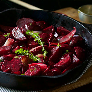 Roasted Beets and Shallots with Mustard Vinaigrette.
