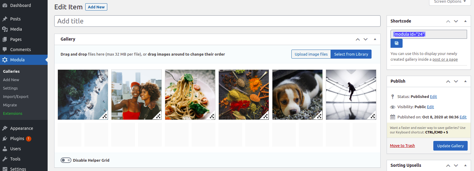 screenshots of the modula image gallery plugin