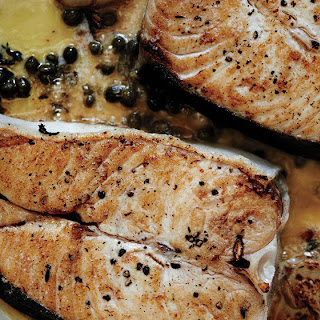 Butter-Basted Halibut Steaks with Capers.