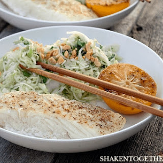 Grilled Halibut with Cilantro Cabbage Slaw.