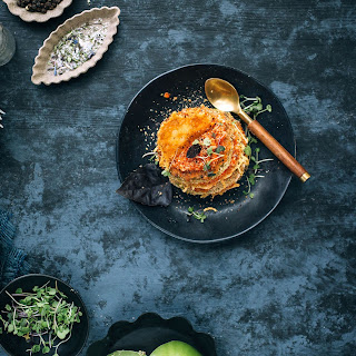 Green Tomato Parmesan Stacks with Red Pesto