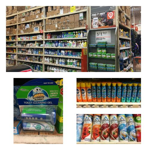 Cleaning supplies available at the Home Depot