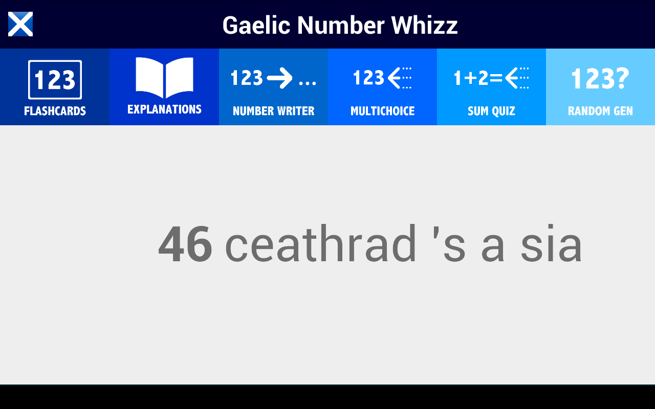 How to read and write gaelic - Scottish Gaelic Number Whizz Screenshot