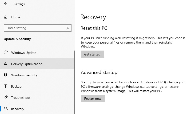 The Recovery settings in the Windows settings