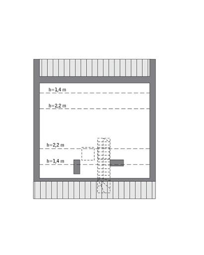Przejrzysty - wariant II - C365b - Rzut poddasza do indywidualnej adaptacji (29,8 m2 powierzchni użytkowej)